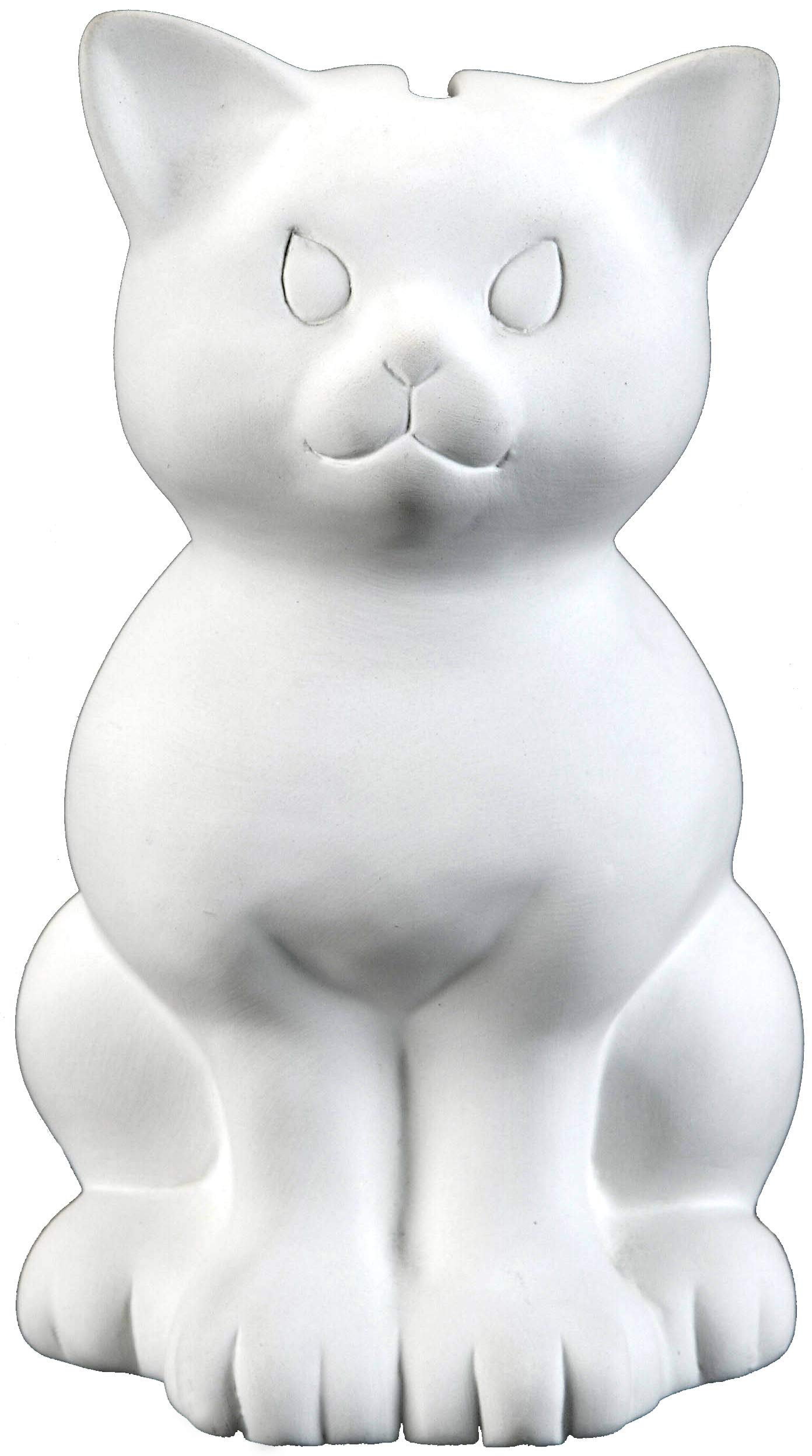 Creative Hobbies Sitting Kitty Cat Bank, Case of 6, Unfinished Ceramic Bisque, with How to Paint Your Own Pottery Booklet