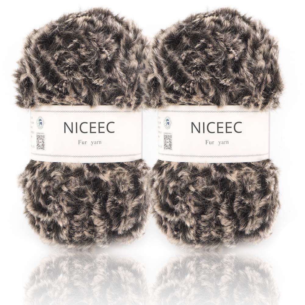 2e6c8a35c32 Amazon.com  NICEEC 2 Skeins Super Soft Fur Yarn Chunky Fluffy Faux Fur Yarn  Eyelash Yarn for Crochet Knit-Total Length 2×32m(2×35yds