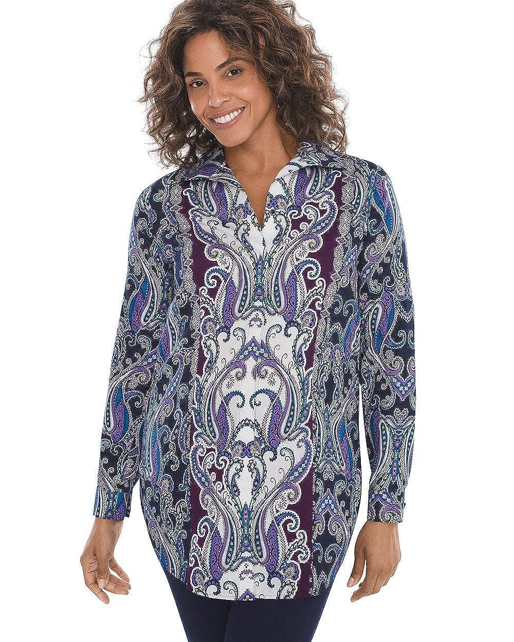 6d1e428059d612 Chico s Women s No-Iron Sateen Paisley Tunic Shirt at Amazon Women s ...