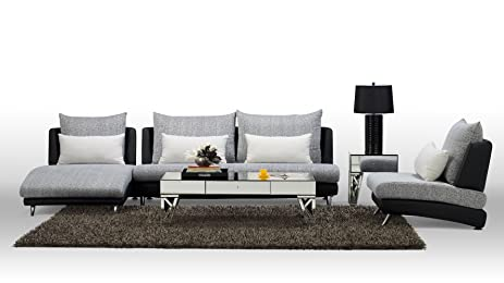 Black Palms Fabric Sectional Sofa   Chaise