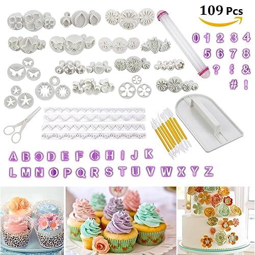 Cadrim 109pcs Ustensiles à Pâtisserie Moule Outils Mold Tools Décoration de gâteau/emporte-pièces avec poussoirs,tampons Fleurs, Feuilles et diverses Formes