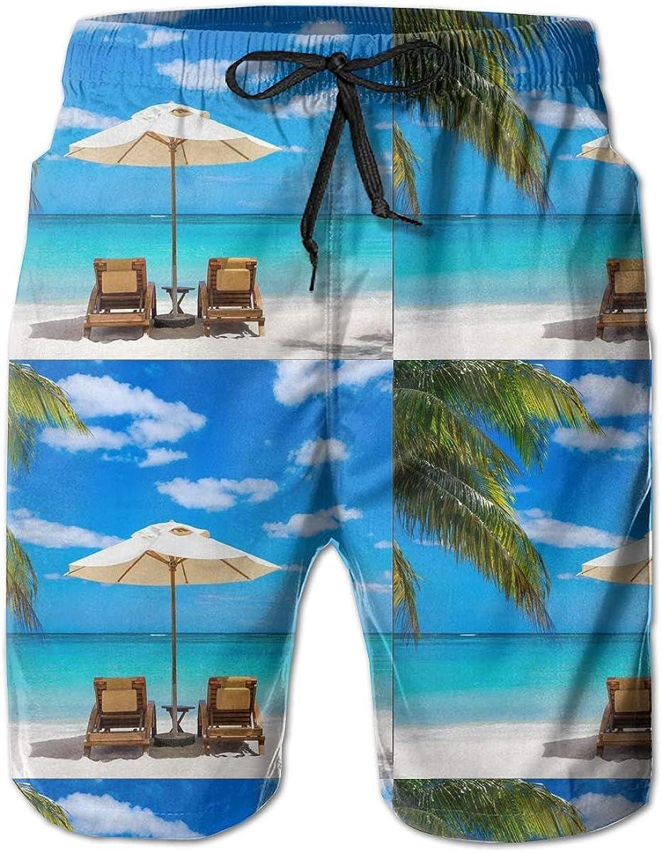 Idyllic White Beach in Front of The Turquoise Tropical Sea Mens Summer Beachwear Sports Running Swim Board Shorts Mesh Lining