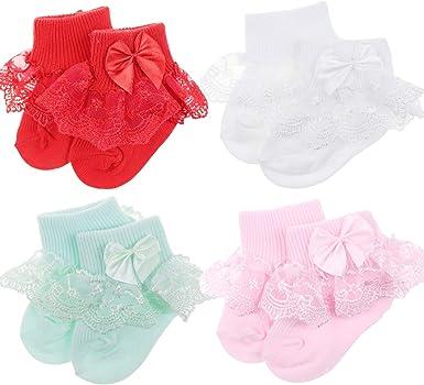 BQUBO Baby Girls Socks Infant Lace Sock Newborn Socks Eyelet Ankle Dress Sock