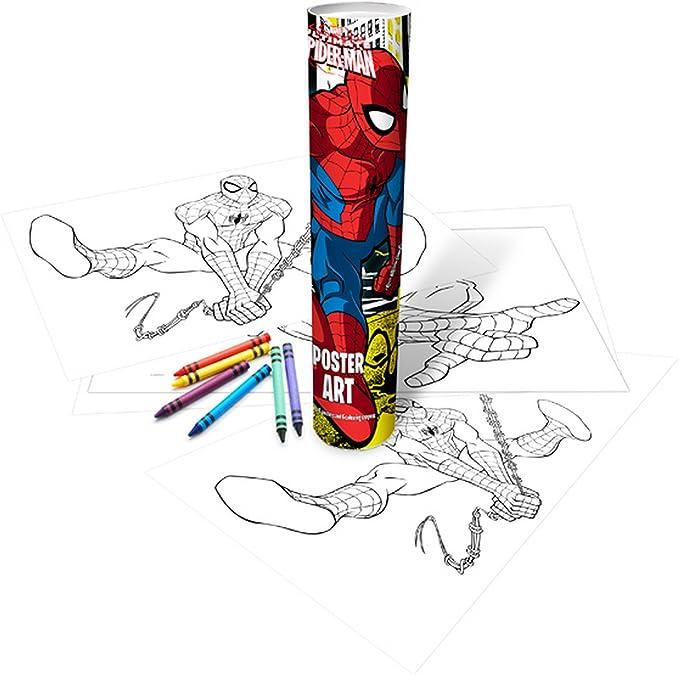 Marvel Spiderman Poster Ufficiale Per Bambini Con Tubo Da Colorare Multicolore Taglia Unica Amazon It Casa E Cucina