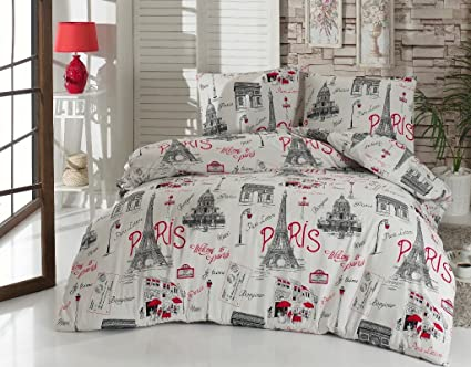 Amazoncom Twin Bedding Set Paris Black And White With Duvet Cover