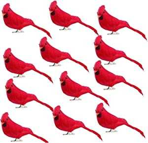 GREENWISH 12 Pcs Red Birds Cardinal with Clip on Christmas Tree Decoration Artificial Red Birds with Feathers for Wreath Ornaments