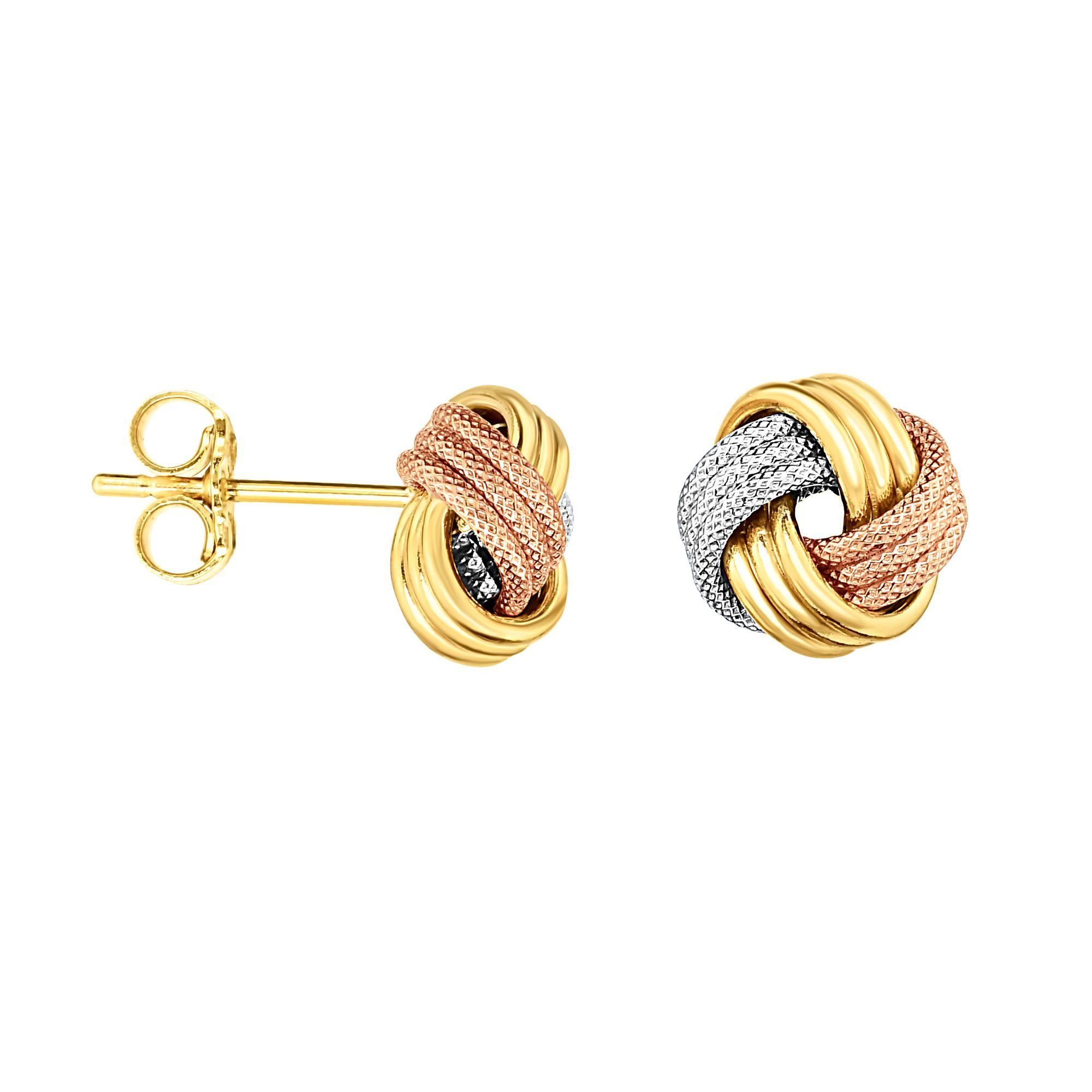 14k Yellow White Pink Tri-color Gold Love Knot Stud Earrings 10 Mm