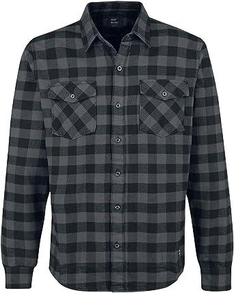 Vintage Industries Harley Hombre Camisa de Franela Gris Marengo/Negro, Regular: Amazon.es: Ropa y accesorios