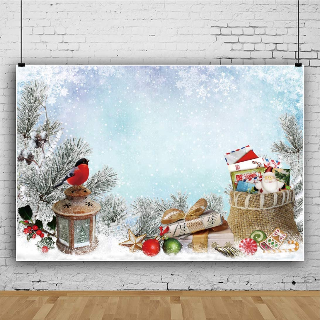 Yeele Christmas Photography Backdrop Retro Lantern Bullfinch Gifts Candy Background Kids Adutls Artistic Portrait 10x8ft Xmas Party Room Decoration Photo Booth Photoshoot Wallpaper