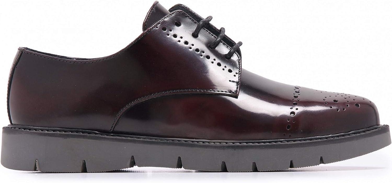 Castellanísimos Zapato Blucher de Piel Florentic con Picados Hombre Burdeos