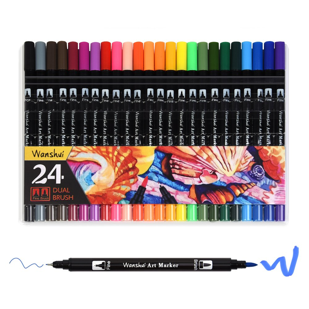 24 Marker Pens - Dual Tip Brush Pens with Fineliner Tip 0.4mm Art Markers for Adult Coloring Books, Drawing, Underlining (Pack of 24) Wanshui 4336948280