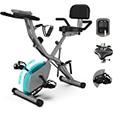 BARWING Foldable Exercise Stationary Bike, 3-IN-1 Magnetic Upright Workout Bike with Arm Exercise Resistance Bands and…