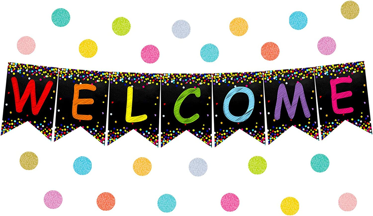 Amazon.com: Confetti Welcome Banner Welcome Bulletin Board for Classroom  Decoration Back to School Teacher Supply: Office Products
