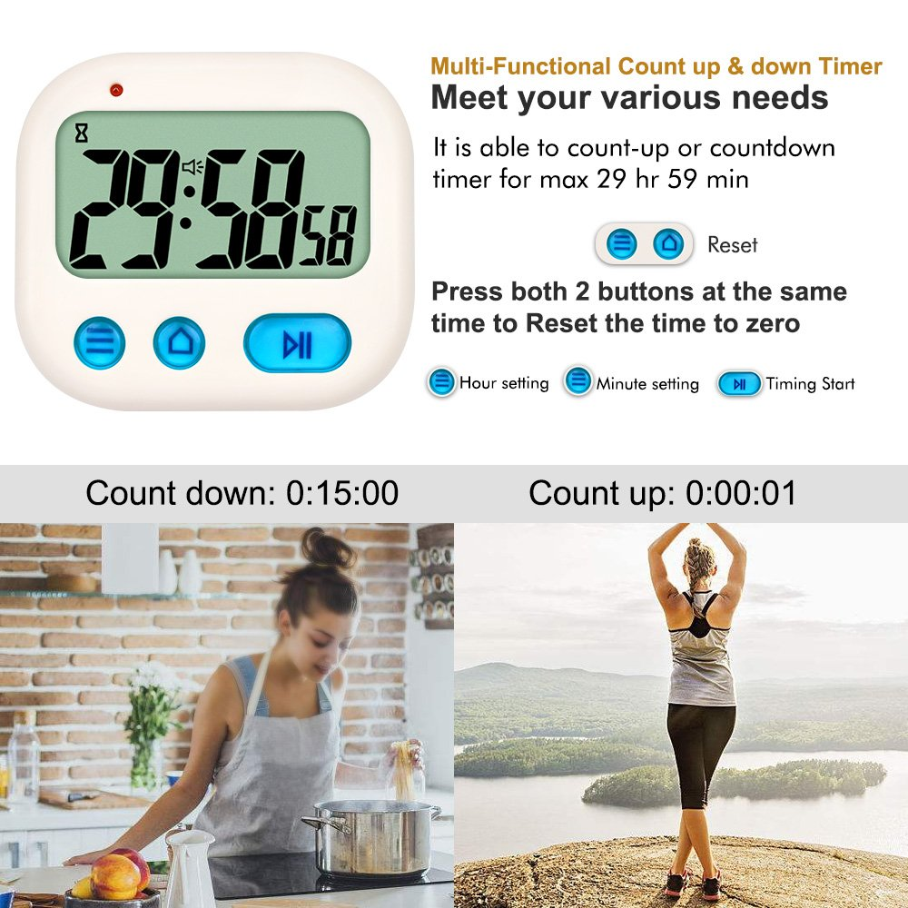 TXL Timer and Alarm Clock Counts Up and Down Virbrating with ...