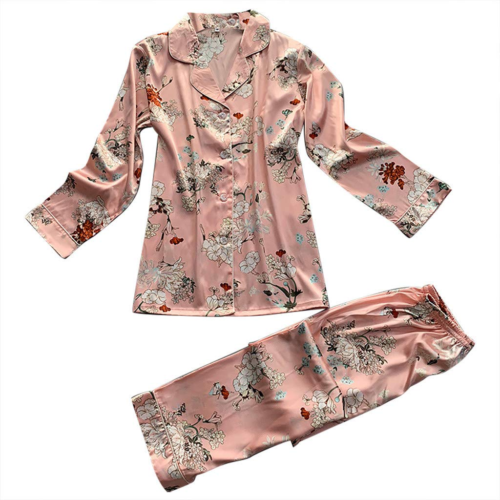 Jeramery Womens Sexy Linegrie for Sex Lingerie Satin Long Sleeve Floral Print Button Front Nightgown Underwear Sleepwear Pink