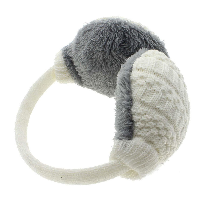 ompson New Style Winter Earmuffs Women Warm Unisex Ear Cover Knitted Plush Earwarmers White