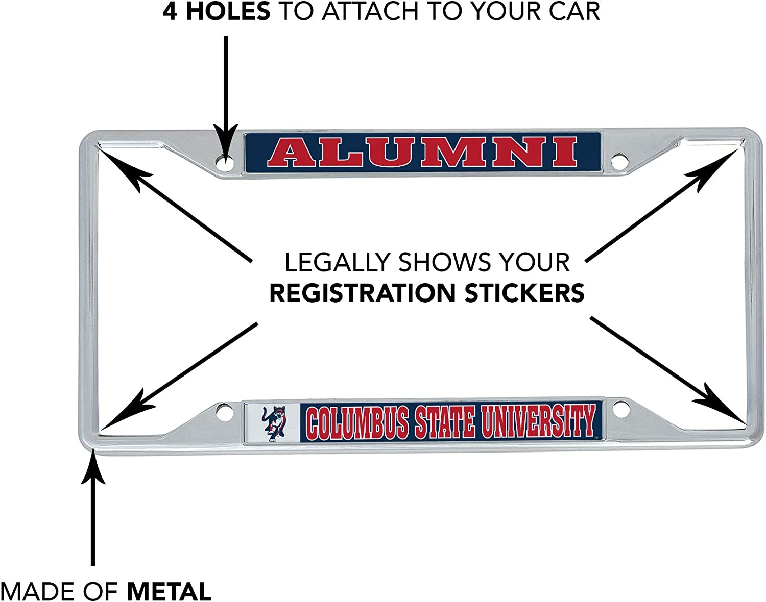 Alumni Desert Cactus Columbus State University Cougars NCAA Metal License Plate Frame for Front Back of Car Officially Licensed