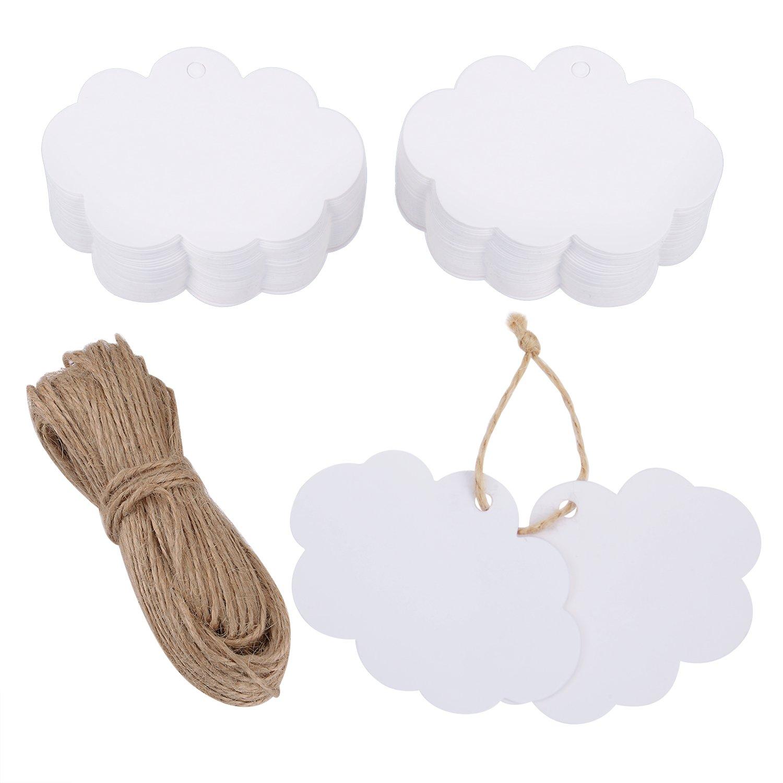100 Pezzi Etichetta Kraft Carta Tag in Kraft di Regalo a Forma di Nuvola da Appendere con 30 Metri Spago Canapa Naturale (Bianco) eBoot