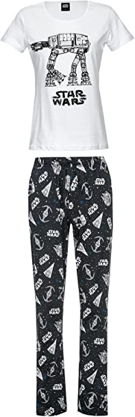 Star Wars AT-AT - Pijama para mujer (algodón), color blanco y negro