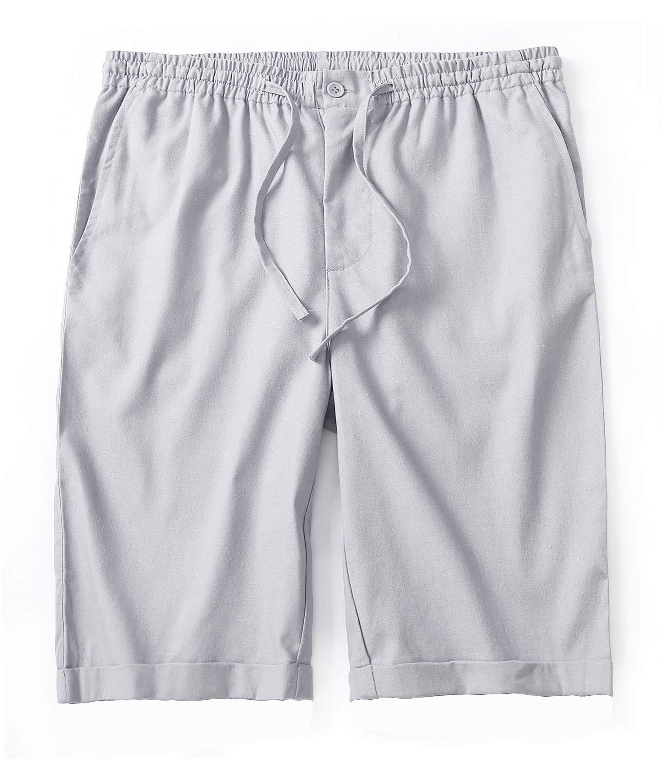 IWOLLENCE Men's Linen Casual Classic Fit Short Summer Beach Shorts Light Gray US 32