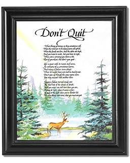 Attractive Donu0027t Quit Motivational Poem Deer In Forest Black Framed 8x10 Art Print