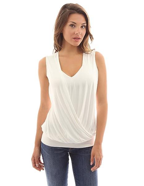 PattyBoutik Mujer Blusa sin Mangas del Dobladillo del Cuello del Cuello de v (Marfil 36
