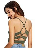 Romwe Women's Sexy Cutout Back Crisscross Spaghetti Strap Crop Cami Top
