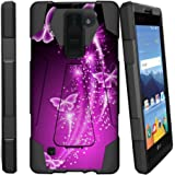 LG K8V Case | K8 V Kickstand Case [SHOCK FUSION] [Shock Absorption | Impact Resistant] Hybrid Dual Layer Armor Defender Protective Case Cover with Kickstand - Hot Purple Butterfly