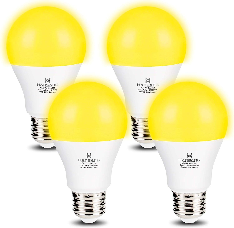 Hansang A19 LED Bug Light Bulb Yellow Color Bulb,7 Watt (60W Equivalent) E26 Medium Base Outdoor Porch Lights, Amber Bedroom Night Light Bulb Bugs Free Bulbs,4 Pack