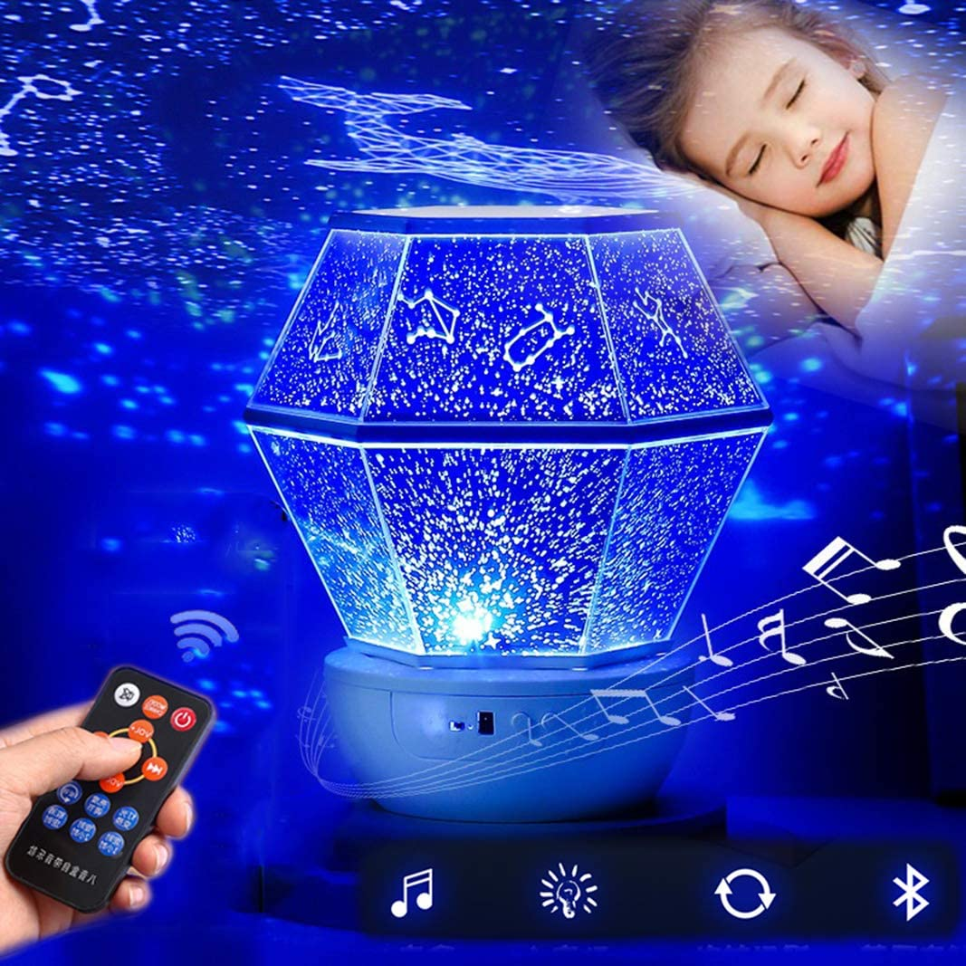 YU XIN Star Projector Night Light for Kids, Starry Projector with Bluetooth Speaker, Rotating LED Nebula Cloud Light for Kids Adults Bedroom Decoration