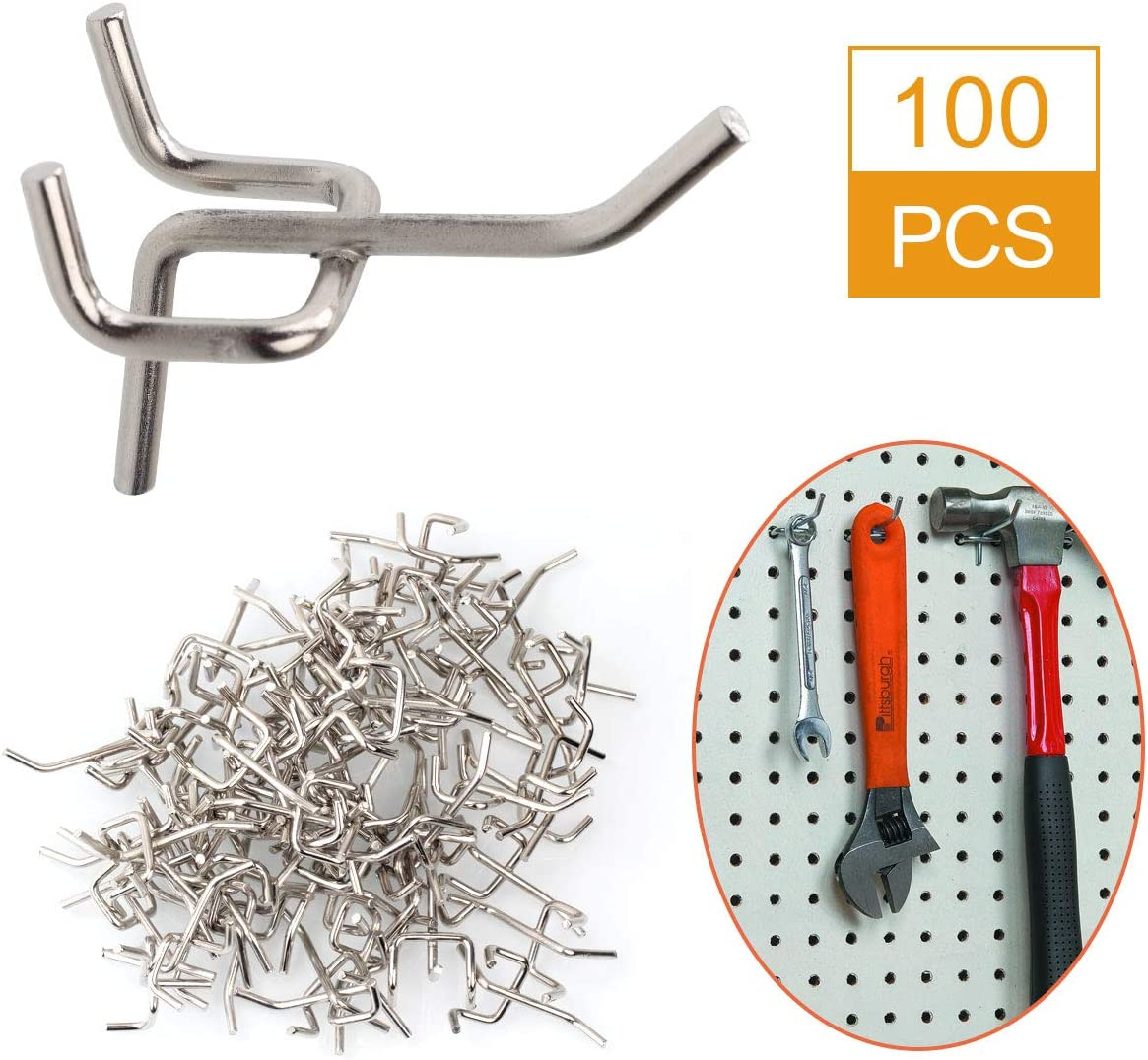 Garage Storage Kitchen Organize Tools for Workbench HNBun 2 Inch Metal Pegboard Hooks Sliver Wall Pegboard Hooks Fit Any Peg Board 100 Pack Heavy Duty Pegboard Shelving Hooks