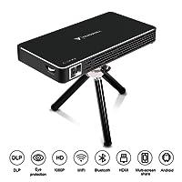 Mini Vidéoprojecteur, Tenswall Android7.1 Portable Projecteur WiFi DLP Projecteur 100 ANSI Lumens, FHD 1080P Pico Projecteur, Ajustement Automatique des Trapèzes,Smart Home Cinéma/Vidéo TV/ Jeux