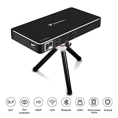 Mini Proyector, Tenswall Portátil DLP Video Proyectors Android 7.1 Pico Projector 1080P Full HD Home Cinema, Entrada HDMI a Su Ordenador ...