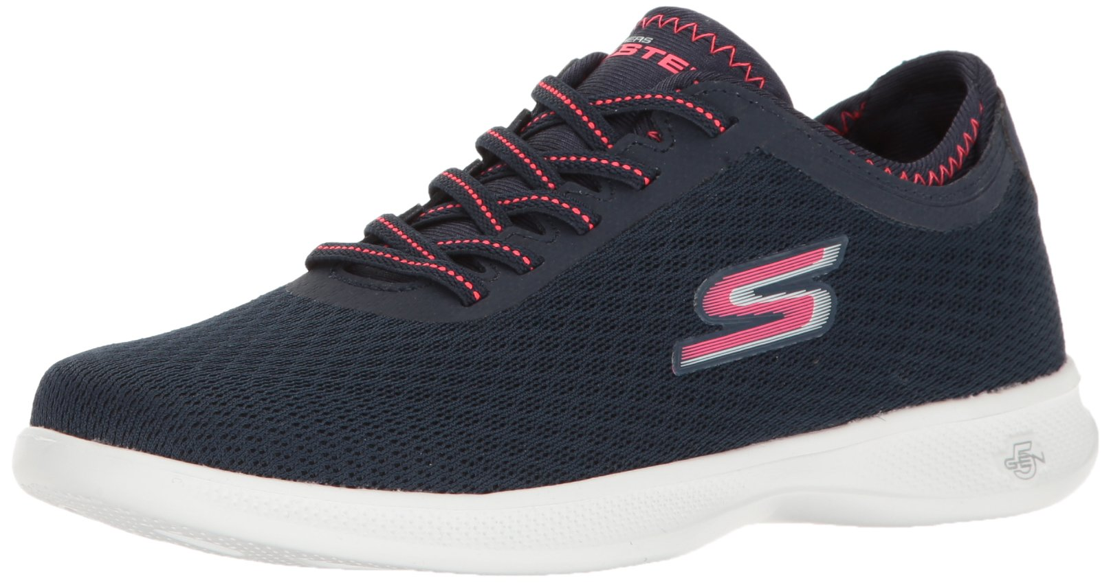 Skechers Performance Women's Go Step Lite Walking Shoe,Navy/Pink Mesh,7.5 M US