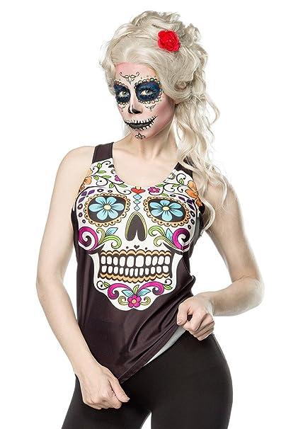 Negro Top De Blanco Mexicano Esqueleto Calavera Camiseta Tank Y hsxQtrdC