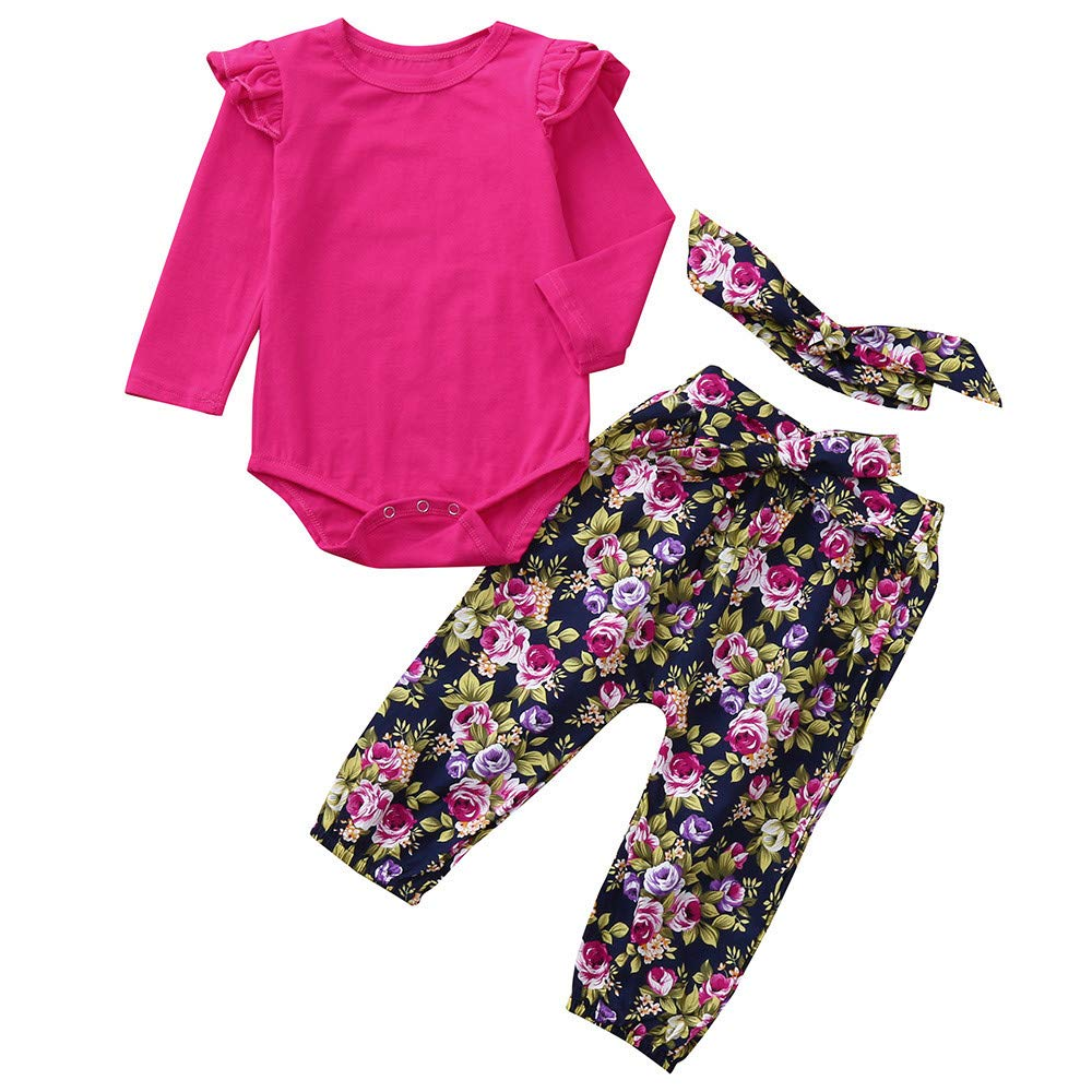 Matoen Infant Baby Girls Sleeve Solid Romper+Floral Print Pants Headband