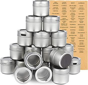 8. Juvale 20-Pack 94 Labels Magnetic Spice Containers 3.4 Ounces