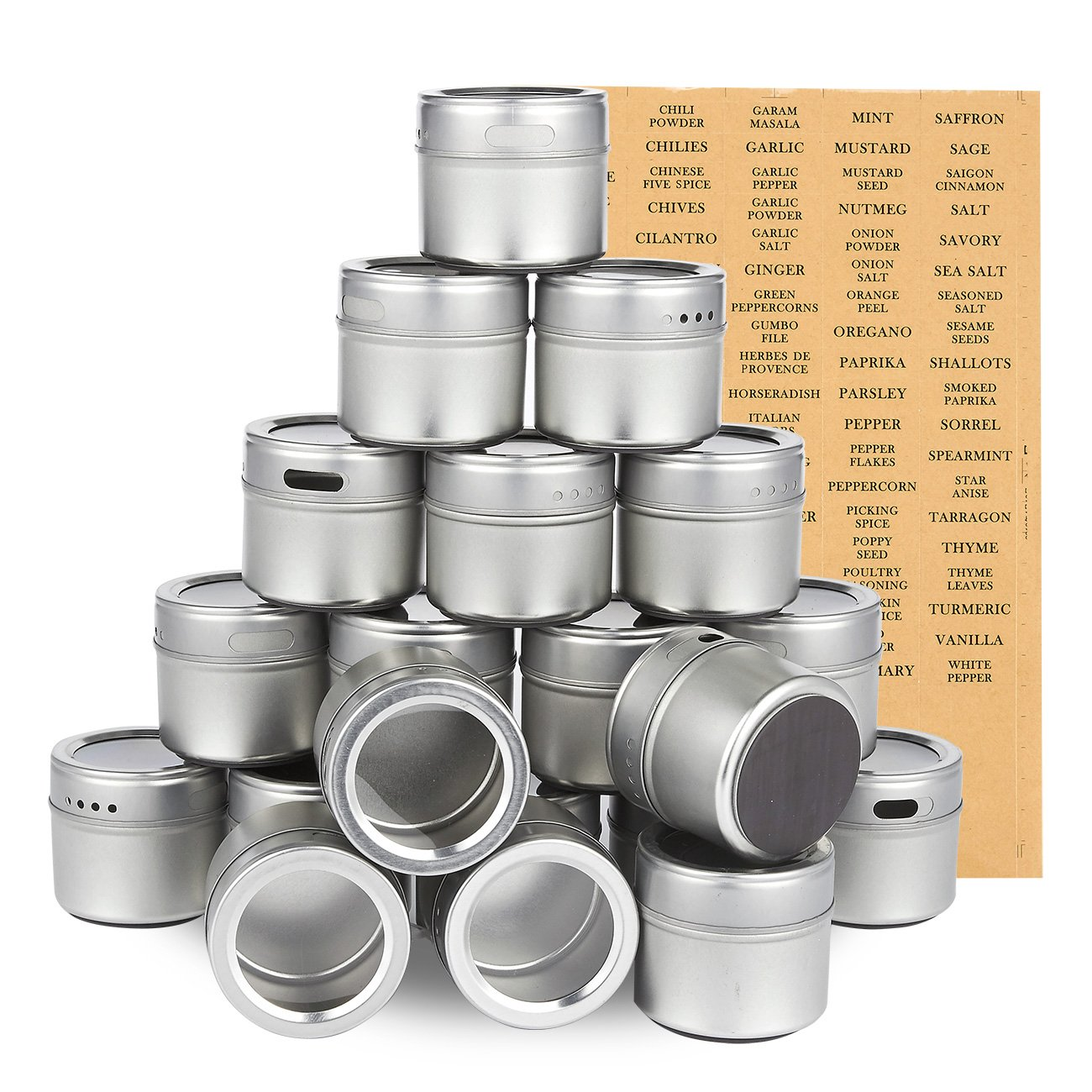 Juvale 20-Pack Magnetic Spice Containers - Storage Tins with Transparent Lids, Seasoning Organizers, Metal Spice Jars, Includes 94 Labelling Stickers - Holds 3.4 Oz by Juvale