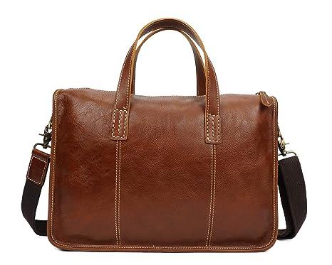 4c4ac0db3abb Genuine Leather Briefcase 14 Inch Laptop Shoulder Bag Messenger Bag ...