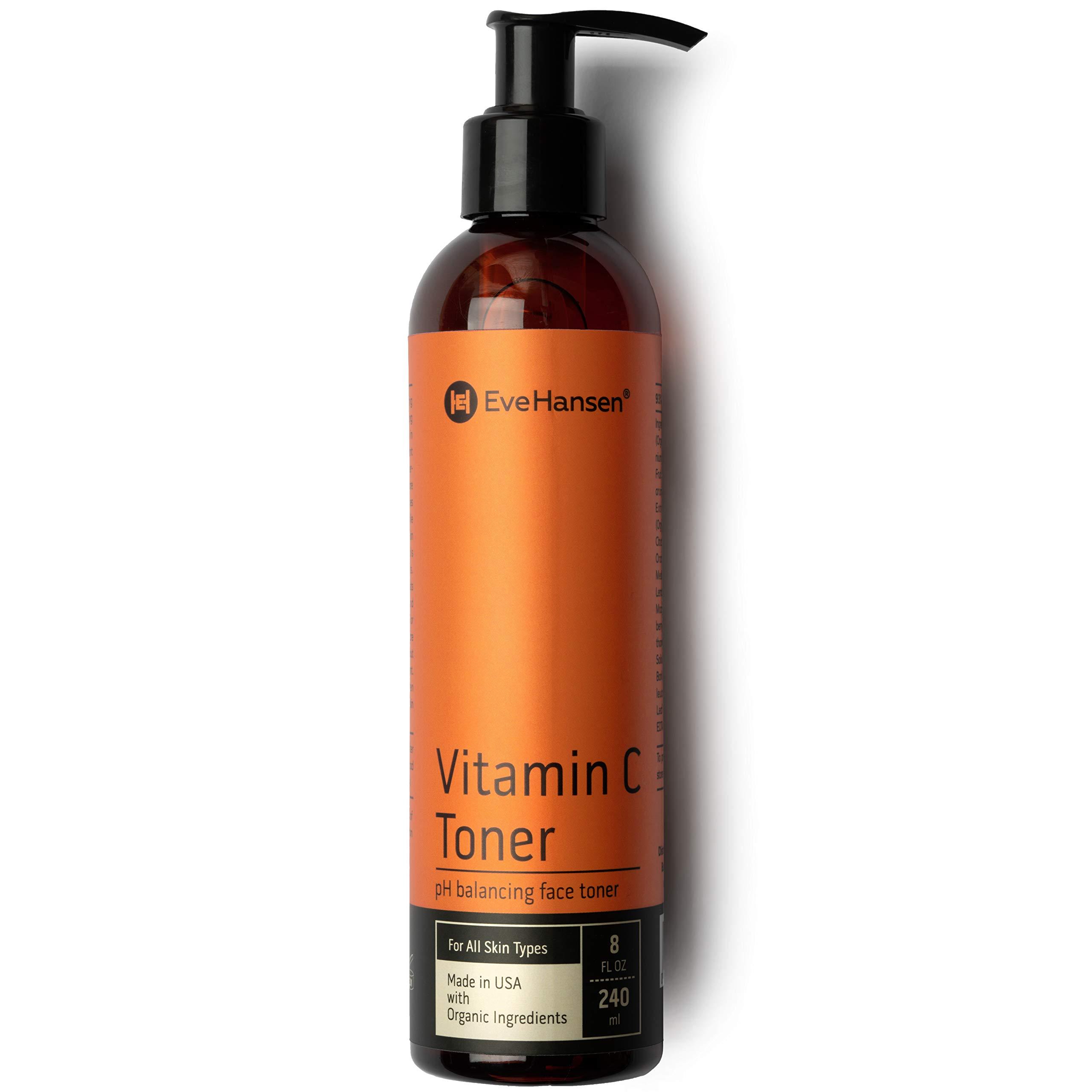 Eve Hansen Vitamin C Toner for face   8 oz Hydrating Facial Toner & PH Balancing Pore Minimizer with Anti Aging Aloe, Citric Acid & Tea Tree   Skin & Face Toner for All Skin Types & Even, Clear Skin