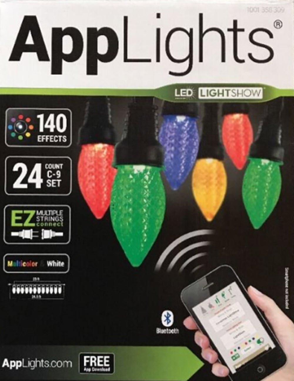 LightShow AppLights 24-Light LED C9 String Set Multicolor Bluetooth 140 Effects Color Changing