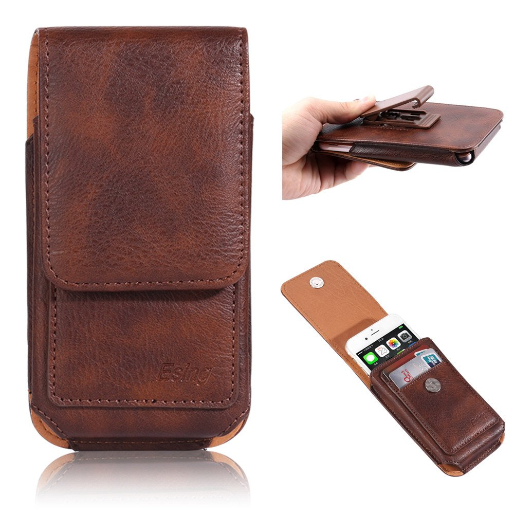 "Esing 5.5"" Universal Faux Leather Holster Pouch Card Slot Rotation Belt Clip for iPhone 6 6s 7 8 Plus Galaxy S6 S7 Edge LG G3 G4 G5 G6 HTC M8 M9 Huawei P10 Mate 9(Brown)"