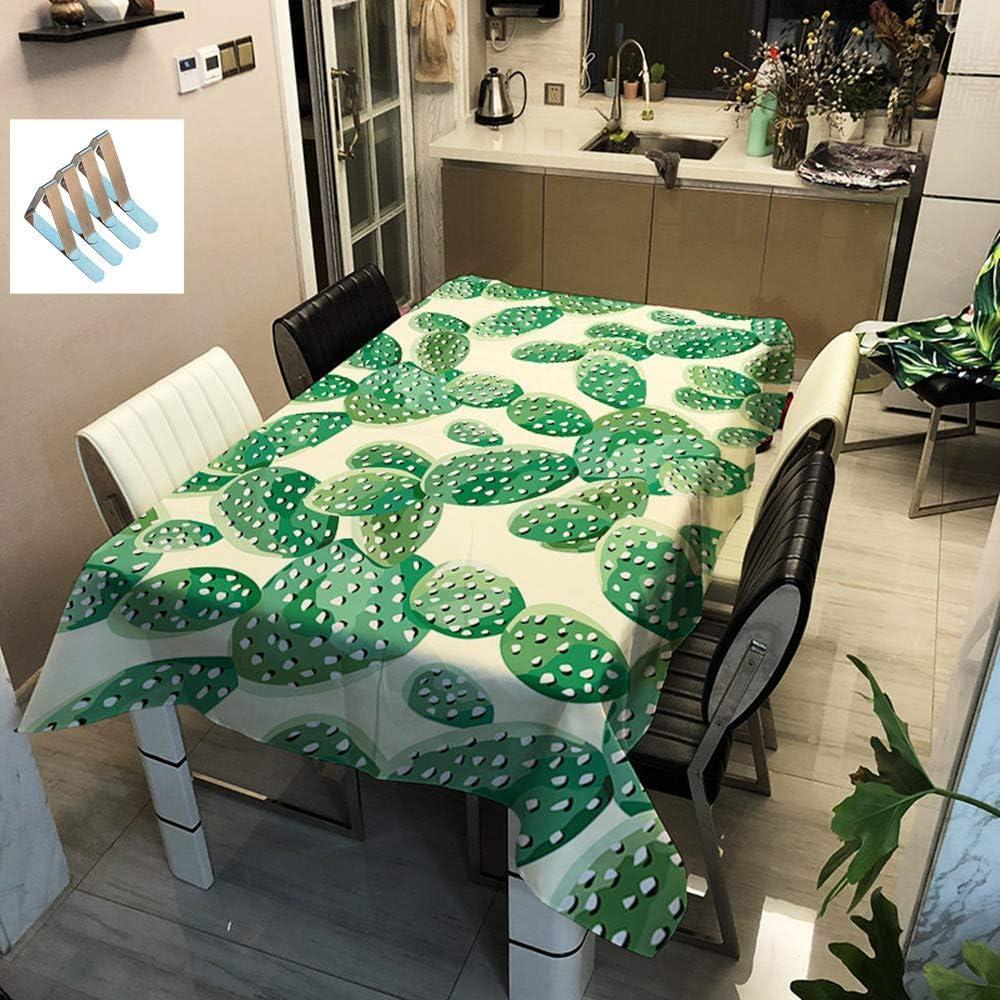 Sticker Superb Verde Cactus Manteles Impermeable Poliéster No-Hierro, A Prueba de Polvo Limpiar Rectángulo Manteles para La Fiesta Al Aire Libre Deporte Picnic (Cactus4,90x90cm)