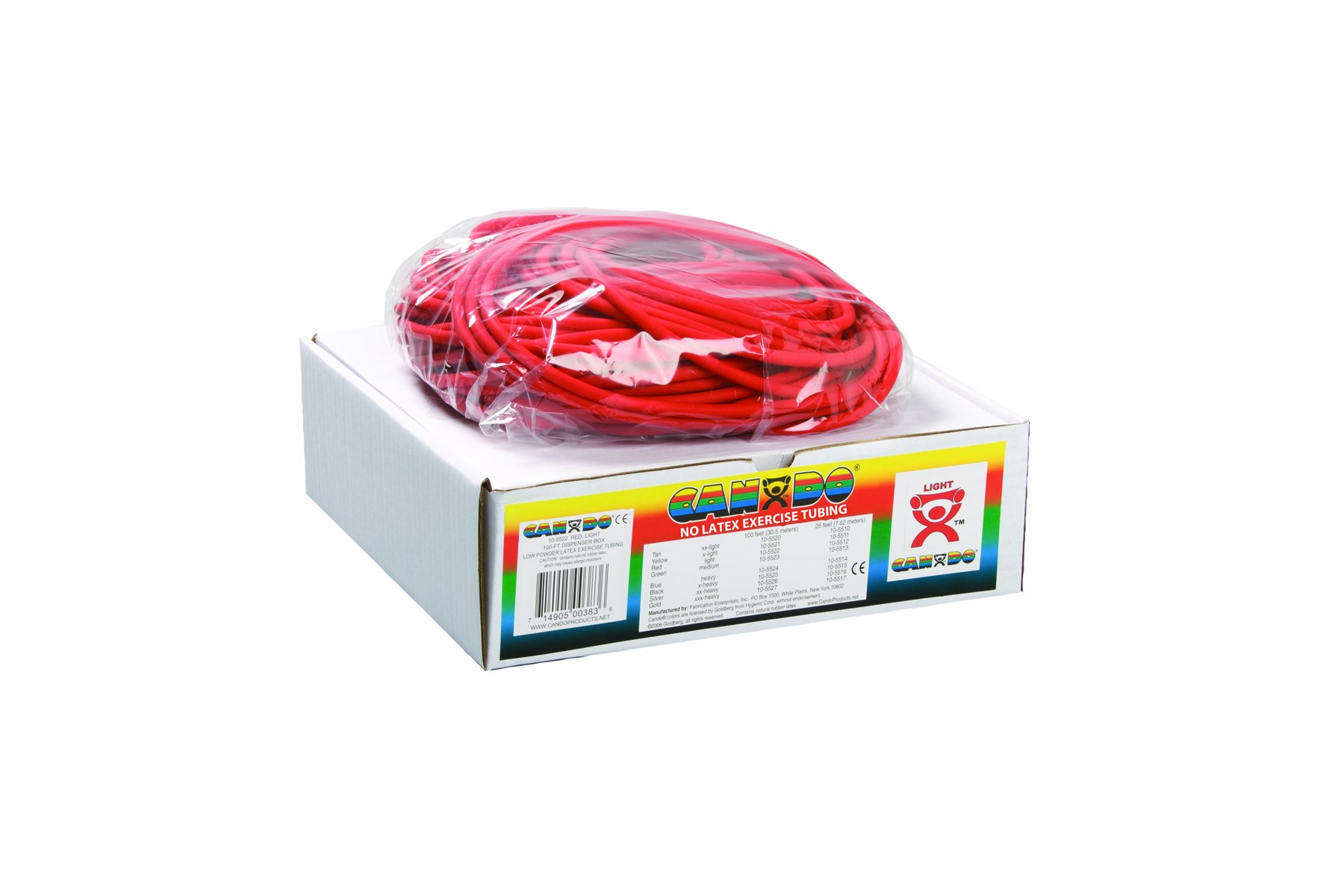 Cando 10-5722 Red Latex-Free Exercise Tubing, Light Resistance, 100' Length by Cando