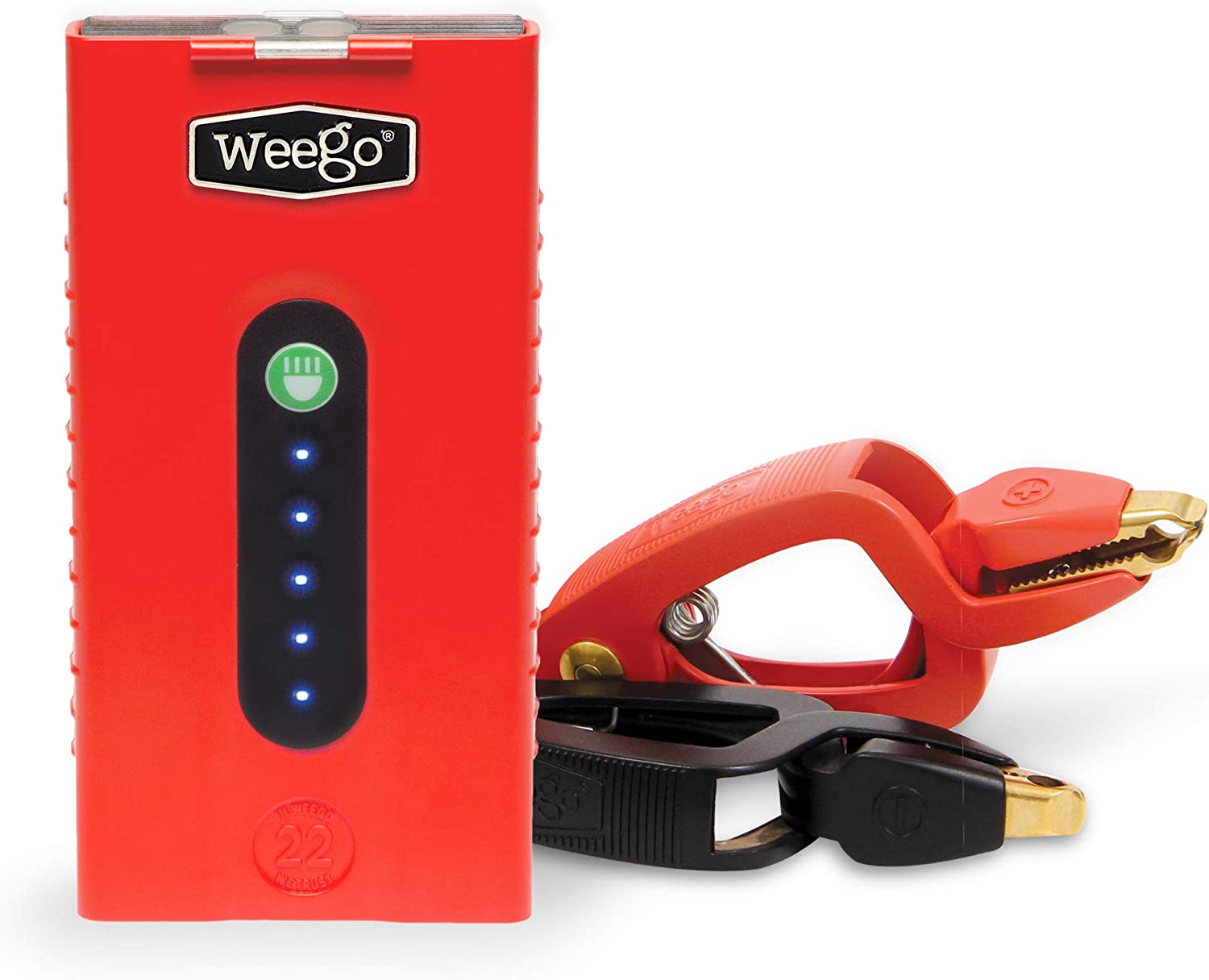 Weego 22 Jump Starting Power Pack 1700 Peak 300 Cranking Amps High Performance Lithium Ion Jump Starter Quick Charges Phones 250 Lumen LED Flashlight Water Resistant USA Designed and Engineered