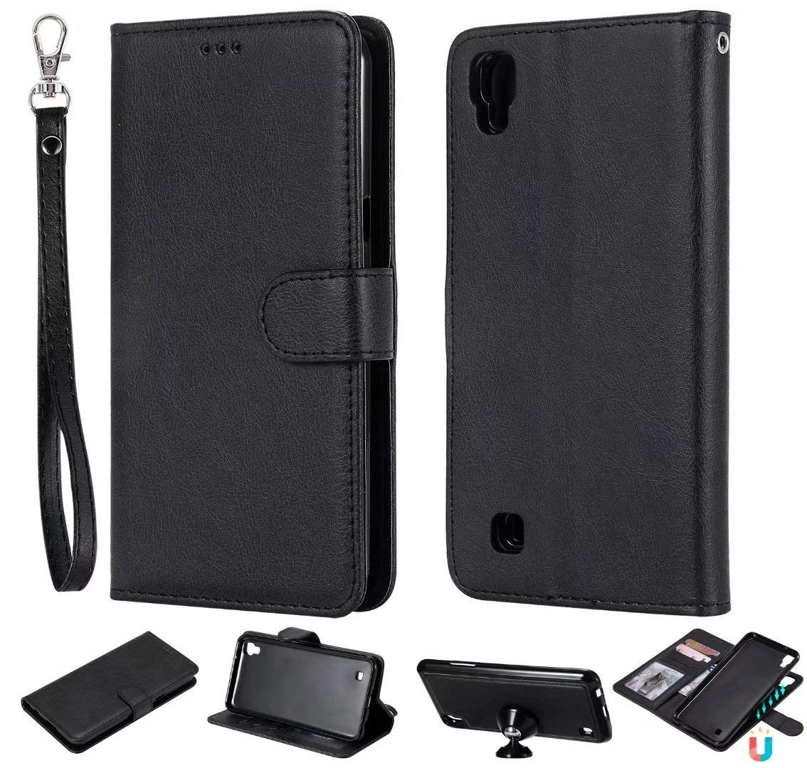 2 in 1 Wallet Case for LG Xpower,[Detachable][Fit Magnetic Car Moun] LG Xpower PU Leather Folio Flip Cover with Wrist Strap (Black)