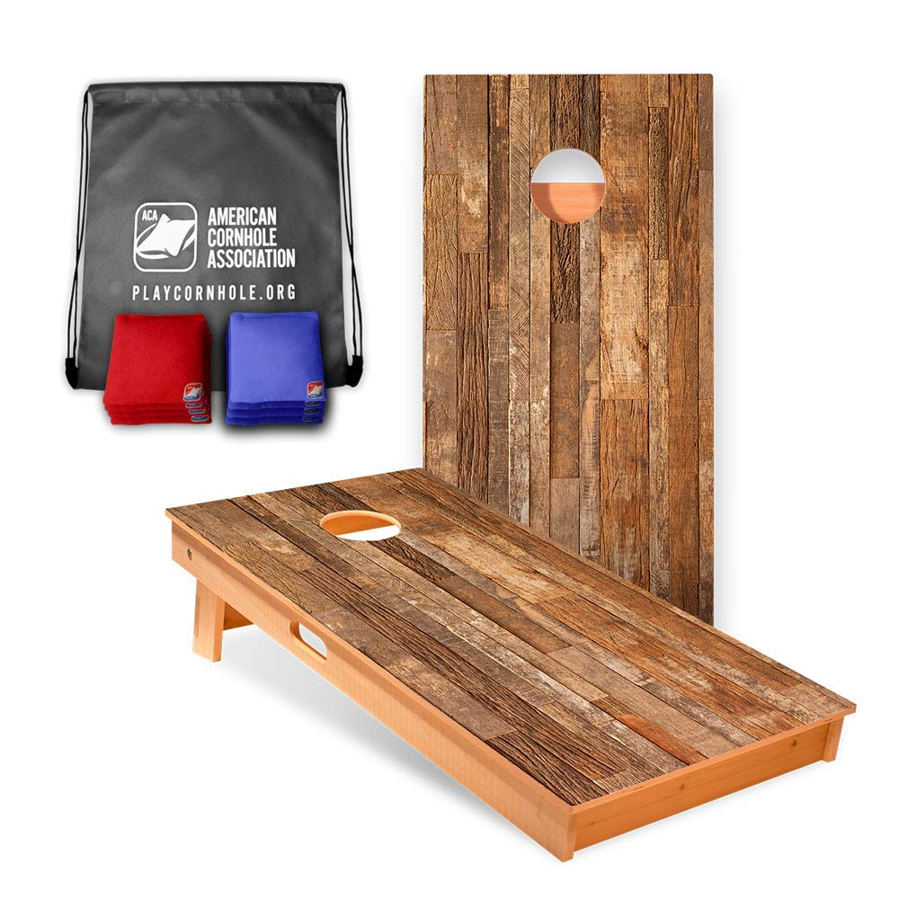Rustic Wood Cornhole Boards (8 Corn Filled Bags Included) | Official Cornhole Game Set of The American Cornhole Association | The ACA is The Oldest Governing Body in The Sport of Cornhole (2003)
