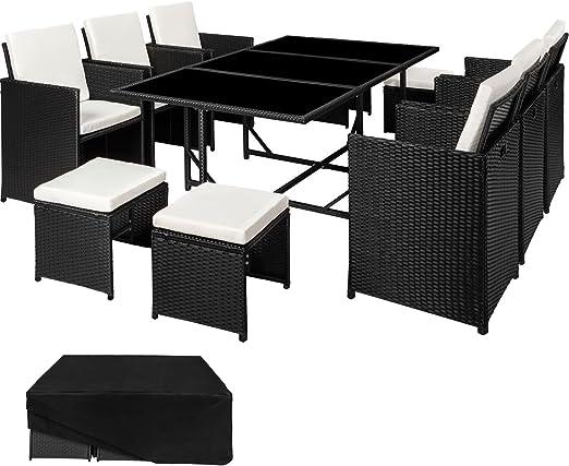SSITG ratán para jardín muebles lounge silla mesa taburete Negro: Amazon.es: Jardín