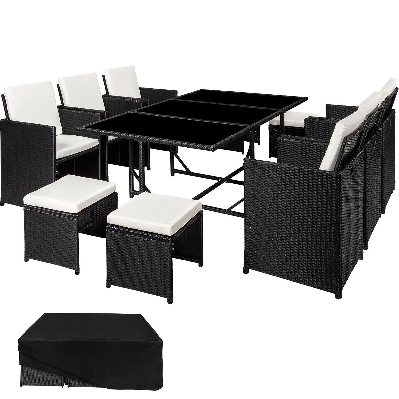 SSITG Poly Rattan Sitzgarnitur Gartenmöbel Garnitur Lounge Stuhl Tisch Hocker schwarz