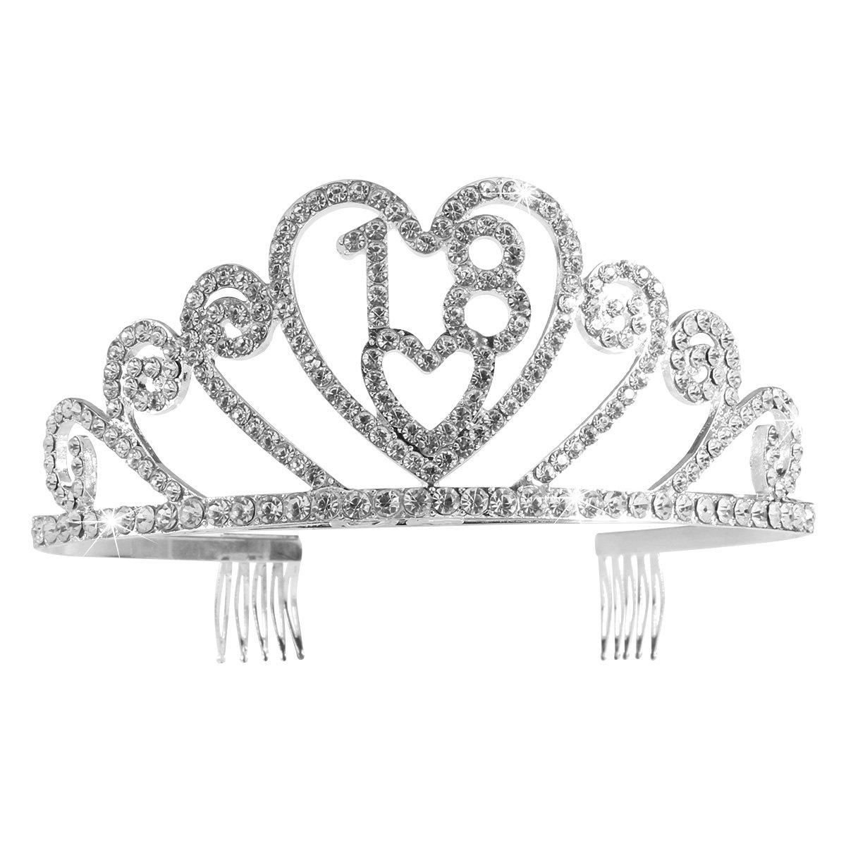 Pixnor Anniversaire 18 Tiara bandeau strass joyeux anniversaire 18e Couronne argent